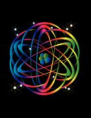 Rainbow colors and an atomic energy symbol are featured in an abstract background vector illustration. poster