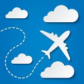 Paper flying plane in clouds. Blue sky travel background. Cutout flat icons. Vector illustration. poster