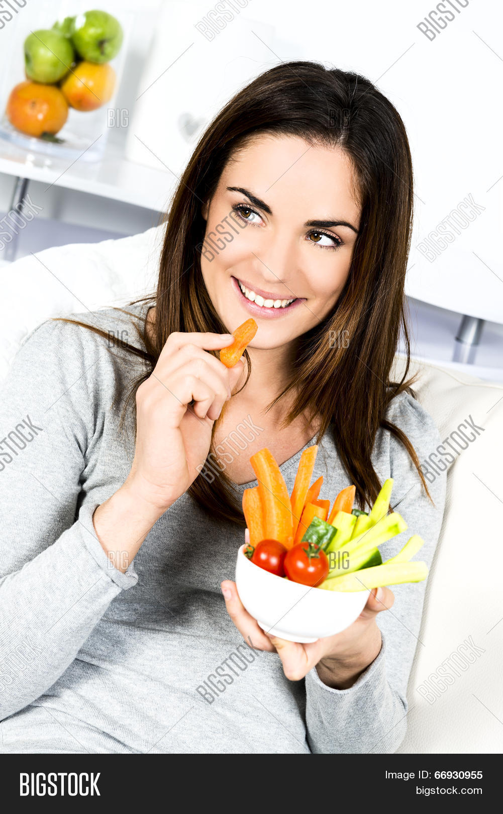 Woman Eating Salad Image Photo Free Trial Bigstock