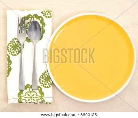 Dinner Setting: Empty Dinner Plate And Silverware