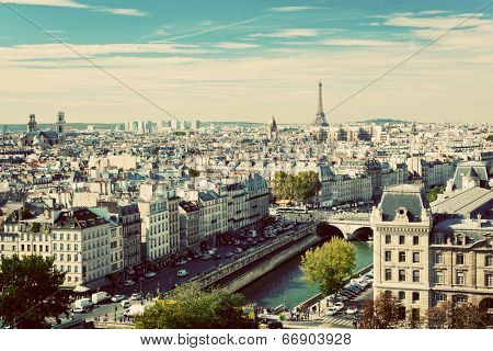 Paris panorama, France. View on Eiffel Tower and Seine river from Notre Dame Cathedral. Vintage, retro style
