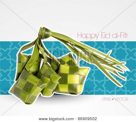 Vector Muslim Ketupat (Rice Dumpling) with Clipping Path. Translation: Happy Eid al-Fitr ( Feast of Breaking the Fast)