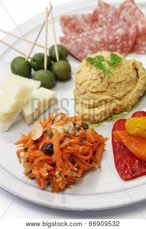 homemade assortment of appetizers, antipasto platter,hors d�oeuvres