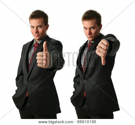 Two young businessmen making his thumb up saying OK and down isolated on white. Hand in focus
