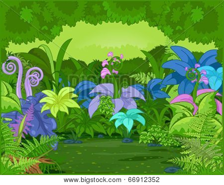 Jungle landscape with different plants and flowers