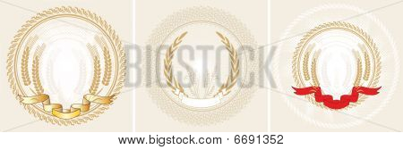 Three laurel wreath and ribbon