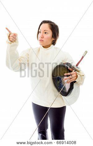 Female fencer showing something