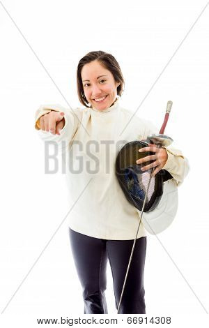 Female fencer pointing towards camera