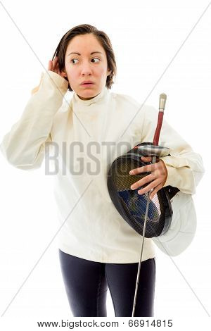 Female fencer trying to listen