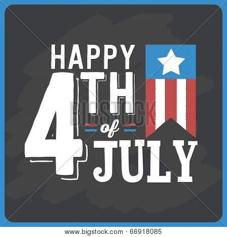 Happy 4th of July - Independence Day Flag Chalkboard Vector