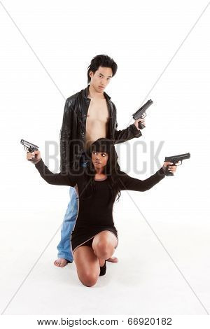 Couple Asian man biracial black Hispanic Latina Puerto Rican woman detective secret agent criminal with gun on shooting alert poster