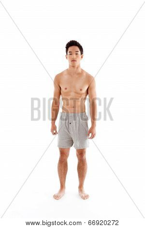Young Handsome Asian Chinese Man In Boxers Underwear