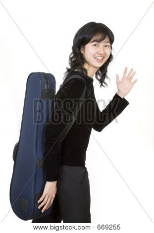 Travelling musician 2, with a violin case poster