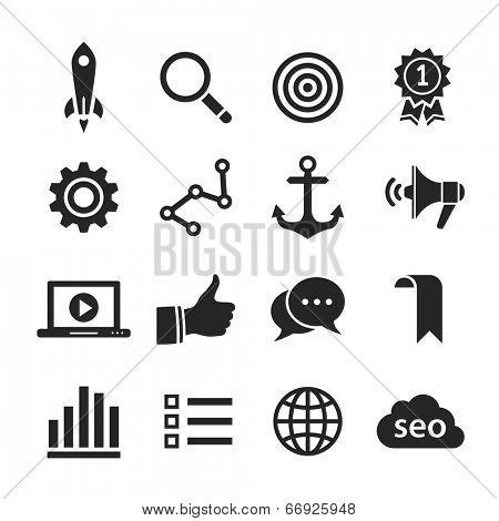 Search engine optimization, internet marketing icons. Raster illustration. Simplus series