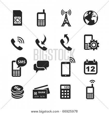 Mobile account management icons. Simplus series. Raster illustration
