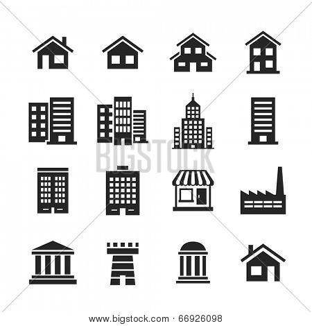 Building Icons Set. Raster illustration. Simplus series