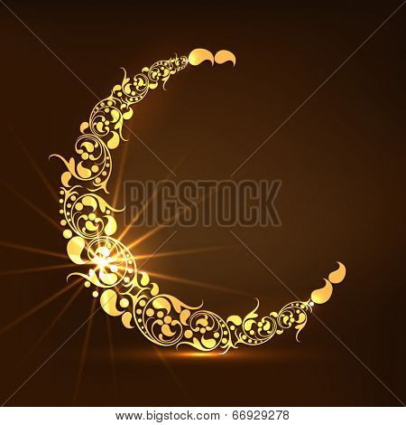 Golden floral design decorated crescent moon on brown background for holy month of Muslim community Ramadan Kareem.
