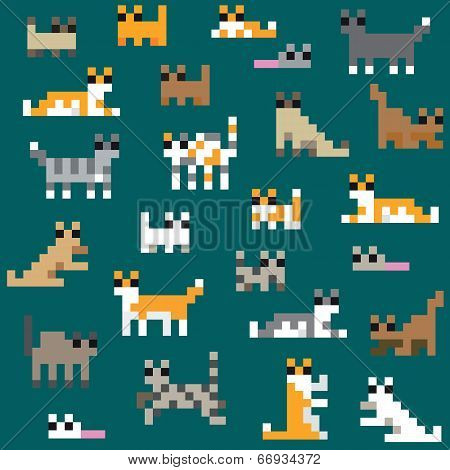 Seamless retro pixel cat pattern