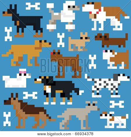 Seamless retro pixel dog pattern