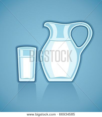 Jug and full glass with milk. Eps10 vector illustration