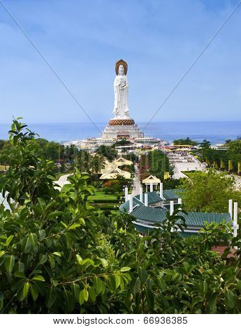 statue of the goddess Guanyin in Nanshan Temple poster