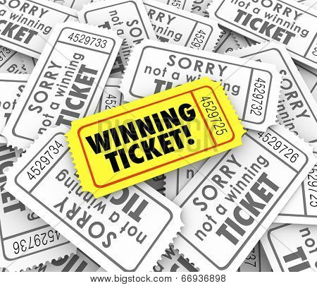 One winning ticket on pile of losing entries in lottery or raffle for cash or prizes