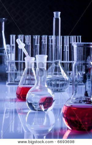 Laboratory Glassware in Blue
