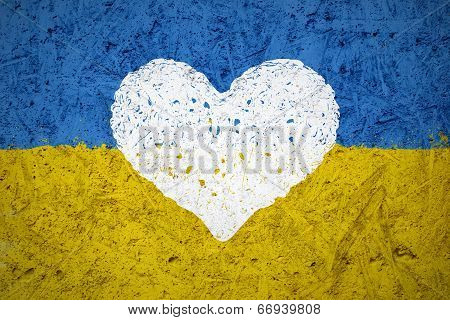Flag Of Ukraine With The Heart Symbol