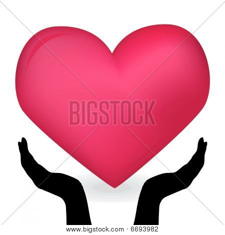 Image of the hands holding red heart