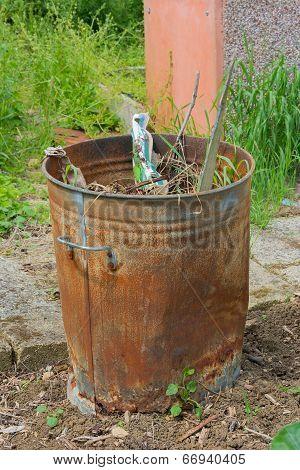 Outdoor Incinerator Full Of Garden Rubbish