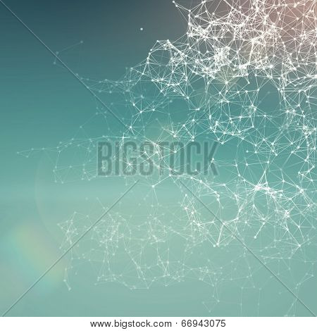 Fresh summer abstract background. Connecting dots lens flare poster