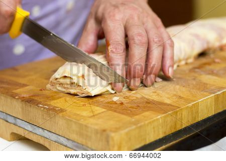 Baker Making Strudel, Close Up