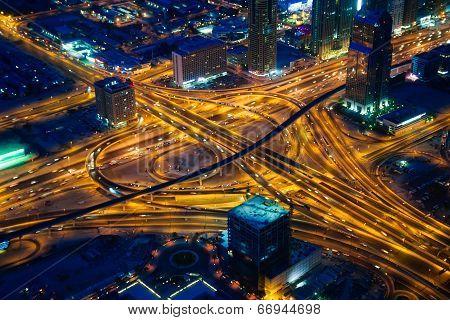 Dubai's crossroads at evening