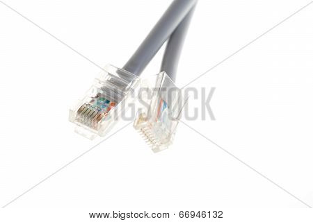 Lan Telecommunication Cable Rj45 On White Background