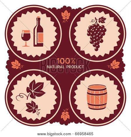 Wine label design with grape and barrel icons