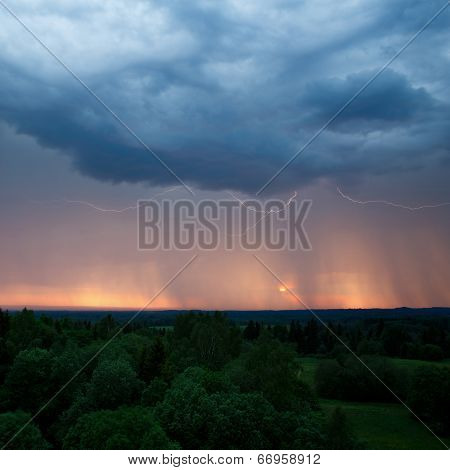Rainstorm, Lightning And Sunset