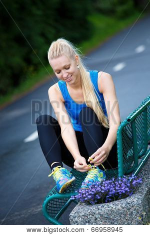 Happy Young Woman Going Running
