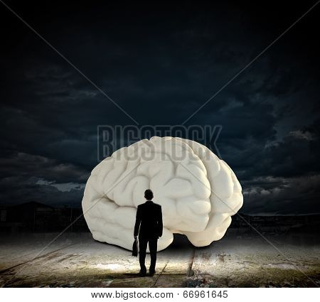 Rear view of businessman looking at big brain model