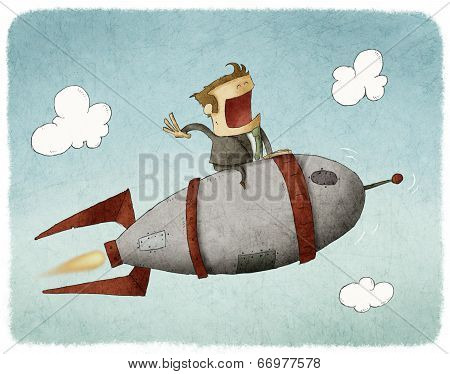 man sitting on a rocket and flying