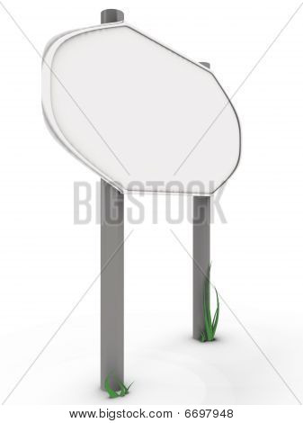 Rounded road sign with grass, left view - 3d image