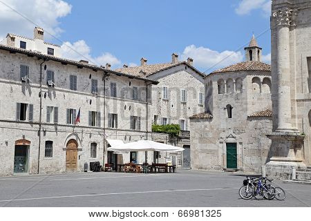 Ascoli Piceno, Italy - June 02, 2014: Arringo Square Is The Oldest Monumental Square Of The City Of
