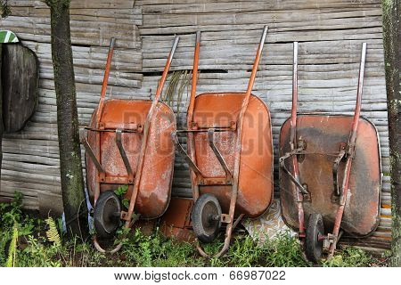 Wheelbarrows Next to a Wall