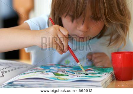 Pretty Girl Coloring A Book