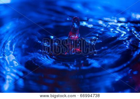 Water Drops Falling On Water With Blue Backlight