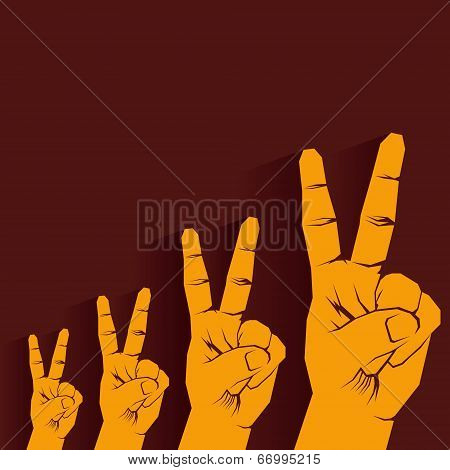 victory sign hand growth graph stock vector