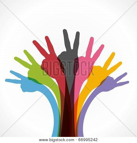 colorful victory sign hand background vector