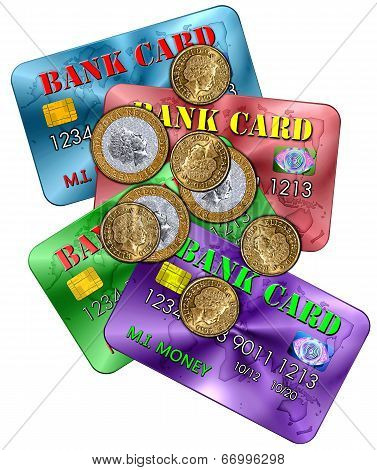 Scattered Bank Cards And Coins