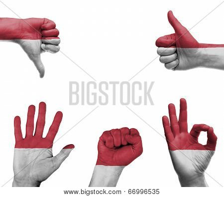 Hand Set With The Flag Of Indonesia
