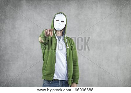 Aggressive Young Man In The Mask