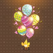 Happy Birthday card background with a bird and balloons. Vector holiday party template poster